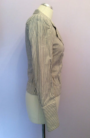 All Saints Blue & Ivory Pinstripe Cotton Jacket Size 10 - Whispers Dress Agency - Womens Coats & Jackets - 3