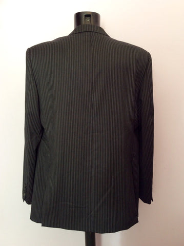 Marks & Spencer Autograph By Timothy Everast Dark Grey Pinstripe Wool Suit Size 44L/40W - Whispers Dress Agency - Mens Suits & Tailoring - 4