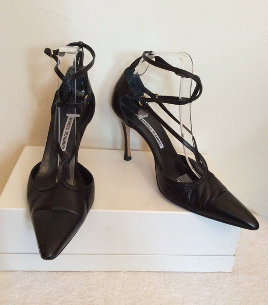 Monolo Blahnik Black Leather Strappy Heels Size 7.5/40.5 - Whispers Dress Agency - Womens Heels - 1