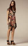ALL SAINTS MULTICOLOURED PRINT ZORAIDA SILK DRESS SIZE 14 - Whispers Dress Agency - Sold - 1