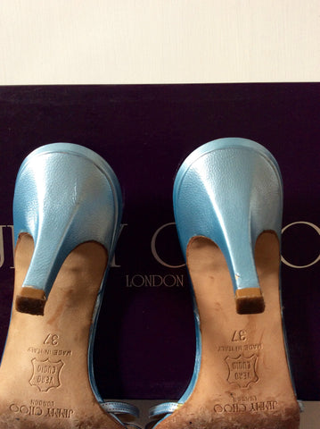 Jimmy Choo Light Blue Strappy Heeled Mule Sandals Size 4/37 - Whispers Dress Agency - Womens Heels - 3