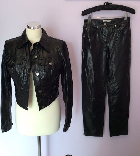 VALENTINO JEANS BLACK PVC TROUSER SUIT SIZE 10 - Whispers Dress Agency - Womens Suits & Tailoring - 1