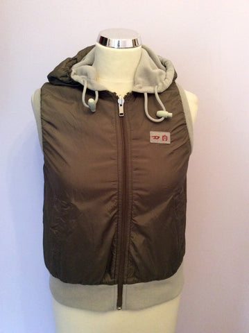 Reversible Diesel Khaki & Beige Zip Up Gilet Size S - Whispers Dress Agency - Womens Gilets & Body Warmers - 1