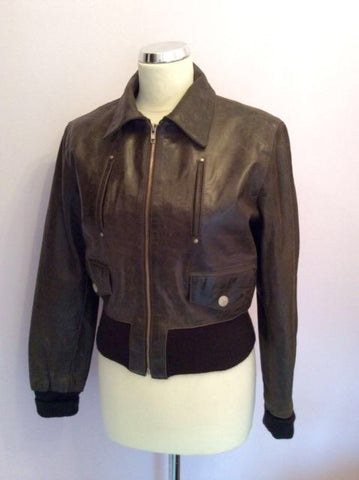 Aviatrix Dark Brown Leather Zip Up Jacket Size L - Whispers Dress Agency - Womens Coats & Jackets - 1