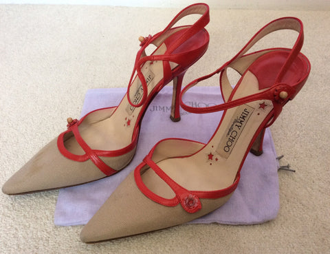 Jimmy Choo Red Leather & Beige Canvas Strappy Heels Size 5/38 - Whispers Dress Agency - Sold - 4