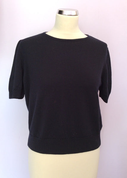Marks & Spencer Dark Blue Short Sleeve Lambswool Jumper Size 18 - Whispers Dress Agency - Sold