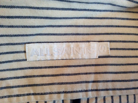 All Saints Blue & Ivory Pinstripe Cotton Jacket Size 10 - Whispers Dress Agency - Womens Coats & Jackets - 6