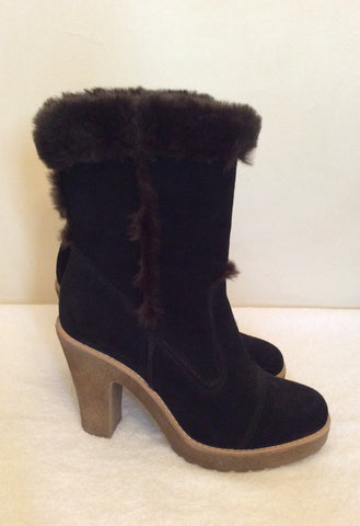 Carvela Dark Brown Suede & Faux Fur Trim Ankle Boots Size 5/38 - Whispers Dress Agency - Womens Boots - 4