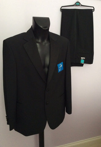 Brand New Marks & Spencer Black Spill Resist Machine Washable Tuxedo Suit Size 42 /34W - Whispers Dress Agency - Mens Suits & Tailoring - 1