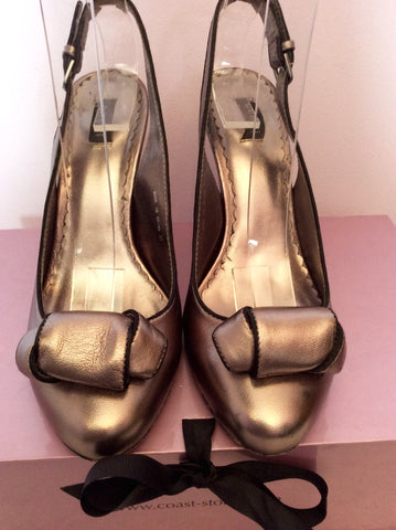 Coast Alexis Pewter Leather Slingback Heels Size 4/37 - Whispers Dress Agency - Womens Heels - 2