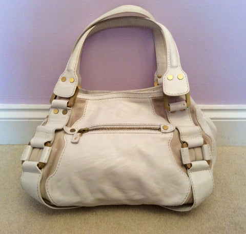 Jimmy Choo White & Cream Leather / Suede Mahala Bag - Whispers Dress Agency - Shoulder Bags - 2
