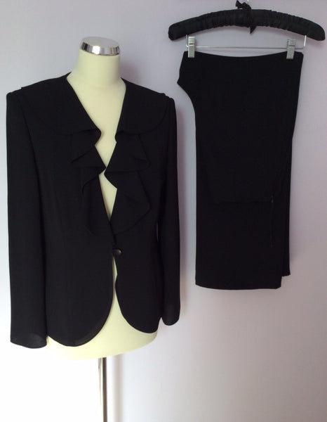 Frank Usher Black Jacket And Trouser Suit Size 12 - Whispers Dress Agency - Sold - 1