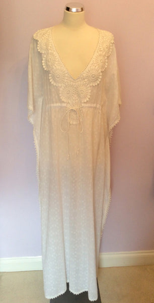 Deane & White Long White Cotton Kaftan / Cover Up Dress Size L - Whispers Dress Agency - Sold - 1