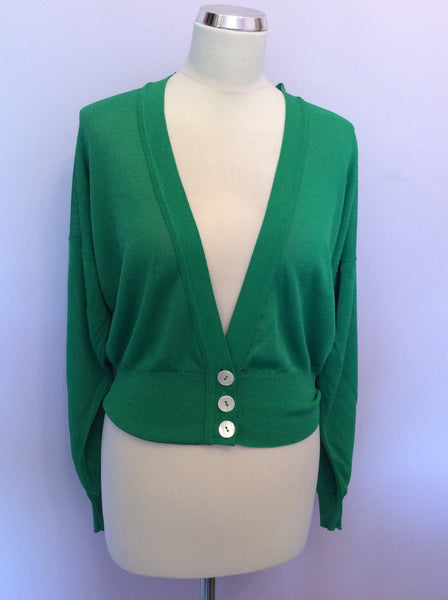 "Vintage Jaeger Green V Neck Cardigan Size 36"" UK M - Whispers Dress Agency - Womens Vintage - 1"