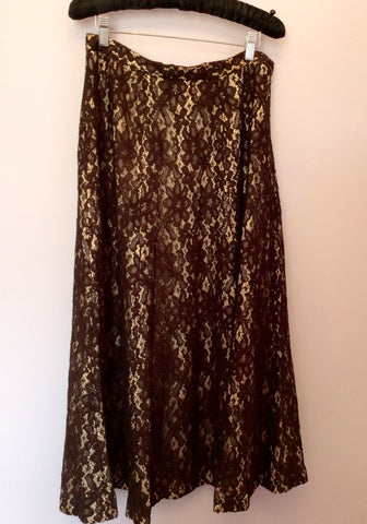 ALEXON BROWN LACE CALF LENGTH SKIRT SIZE 14 FITS UK 12 - Whispers Dress Agency - Womens Skirts - 1