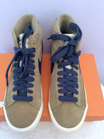 Brand New Nike Beige & Blue Suede Blazer Filbert Mid Trainer Boots Size 4/37 - Whispers Dress Agency - Womens Trainers & Plimsolls - 3