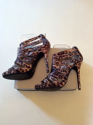 ALDO BROWN LEOPARD PRINT STRAPPY HIGH HEEL SANDALS SIZE 6 - Whispers Dress Agency - Womens Sandals - 3