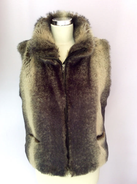 Planet Dark Brown Faux Fur Gilet Size 12 - Whispers Dress Agency - Sold - 1