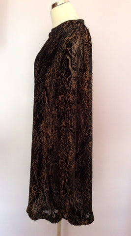 Brand New Nougat Brown & Black Print Tunic Top Size 5 UK L/XL - Whispers Dress Agency - Womens Tops - 2