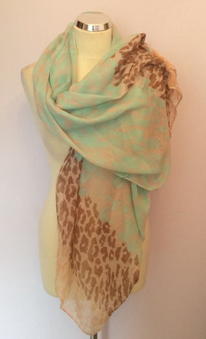LIGHT GREEN,APRICOT & BROWN PRINT WRAP/ SCARF - Whispers Dress Agency - Womens Scarves & Wraps