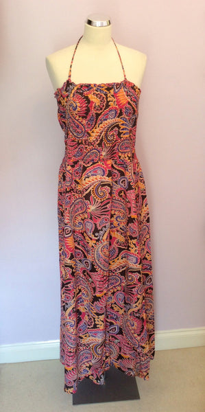 Freya Brown, Orange, Purple & Pink Cotton Sundress Size L - Whispers Dress Agency - Womens Dresses - 1
