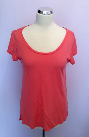 WHISTLES CORAL SCOOP NECK CAP SLEEVE TOP SIZE 10 - Whispers Dress Agency - Womens T-Shirts & Vests - 1