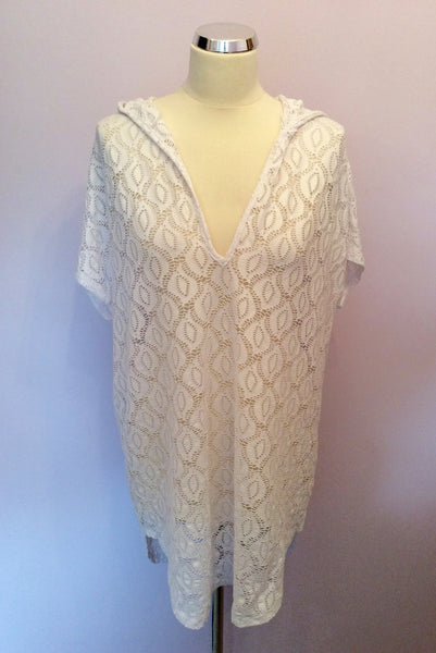 Jordan Taylor White Hooded Kaftan Cover Up Top Size XL - Whispers Dress Agency - Sold - 1