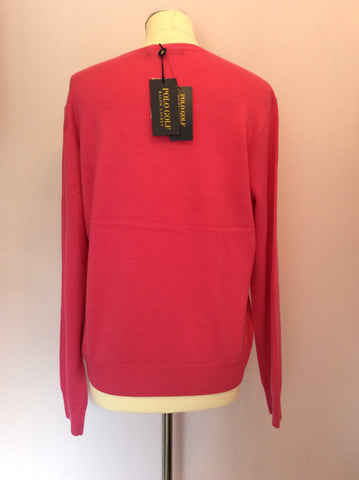 BNWT Ralph Lauren Polo Golf Belmont Pink Wool Jumper Size XL - Whispers Dress Agency - Sold - 2