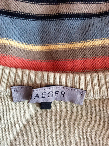 Jaeger Beige & Multi Coloured Stripe Cotton Jumper Size S - Whispers Dress Agency - Womens Knitwear - 2