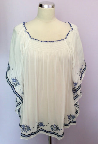BRAND NEW MONSOON WHITE & BLUE EMBROIDERED TOP SIZE 18 - Whispers Dress Agency - Sold - 1