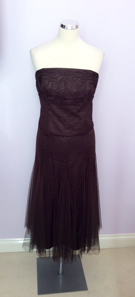 Monsoon Brown Net Overlay Strapless Dress Size 8 - Whispers Dress Agency - Womens Dresses - 1