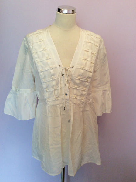 Karen Millen Ivory Silk & Cotton Smock Top Size 14 - Whispers Dress Agency - Sold - 1