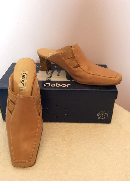 Gabor Camel Leather Slip On Heel Mules Size 5/38 - Whispers Dress Agency - Sold - 1