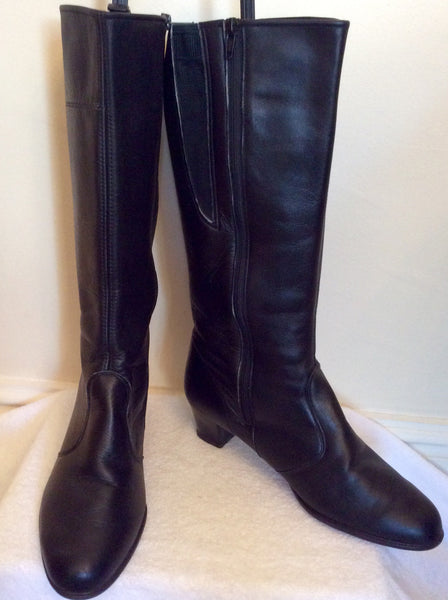 Brand New Portland Black Leather Boots Size 8/42 Wide Fit - Whispers Dress Agency - Sold - 1