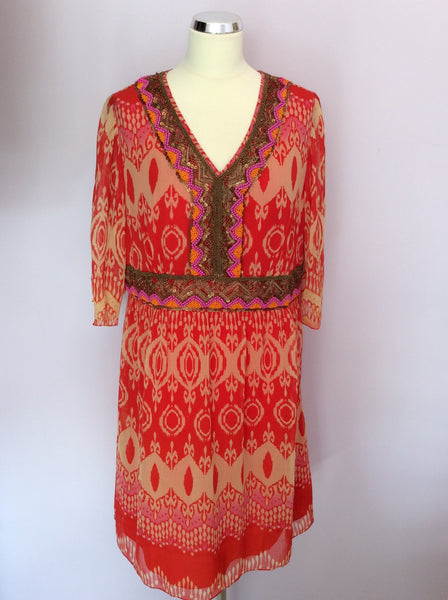 Brand New Savoir Red Print Bead & Sequin Trim Dress Size 18 - Whispers Dress Agency - Womens Dresses - 1