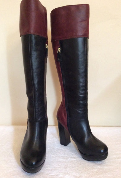 Betty Jackson Black Burgundy & Black Leather Knee High Boots Size 4/37 - Whispers Dress Agency - Womens Boots - 1