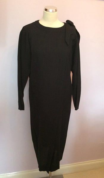 Vintage Jaeger Black Wool Shift Dress Size 10 - Whispers Dress Agency - Sold