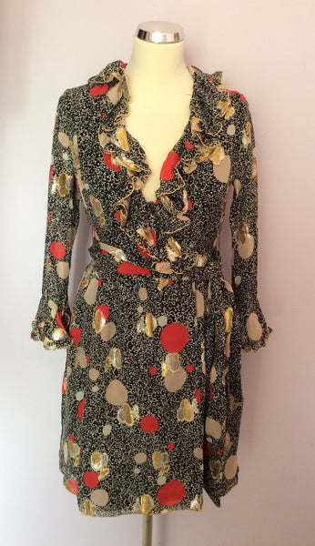 Anna Sui Black & Metallic Print Silk Wrap Dress Size 2 UK 6/8 - Whispers Dress Agency - Sold - 1