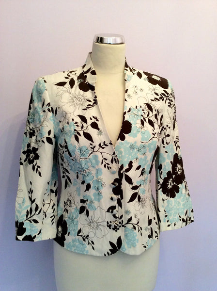 Country Casuals Ivory, Duck Egg & Brown Floral Print Silk & Cotton Jacket Size 10 Petite - Whispers Dress Agency - Womens Coats & Jackets - 1