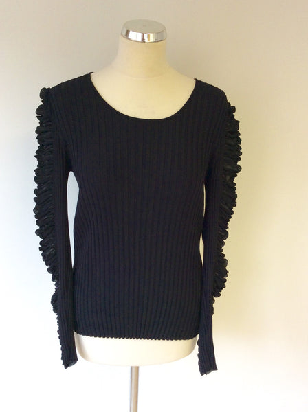 BETTY BARCLAY COLLECTION BLACK RIBBED RUCHED LONG SLEEVE JUMPER SIZE 8 - Whispers Dress Agency - Womens Knitwear - 1
