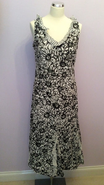 PER UNA BLACK & WHITE FLORAL PRINT COTTON DRESS SIZE 14 - Whispers Dress Agency - Womens Dresses - 1