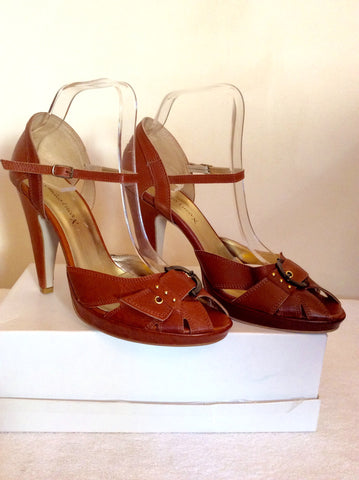 Brand New Emilio Lucax Tan Brown Leather Peeptoe Sandals Size 7/40 - Whispers Dress Agency - Womens Sandals - 1