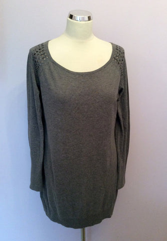 Esprit Grey Studded Trim Scoop Neck Long Jumper Size XL - Whispers Dress Agency - Womens Knitwear - 1