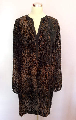 Brand New Nougat Brown & Black Print Tunic Top Size 5 UK L/XL - Whispers Dress Agency - Womens Tops - 1