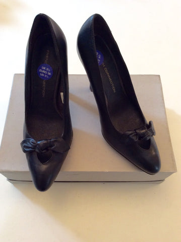 BRAND NEW FRENCH CONNECTION BLACK LEATHER HEELS SIZE 3.5/36 - Whispers Dress Agency - Womens Heels - 1