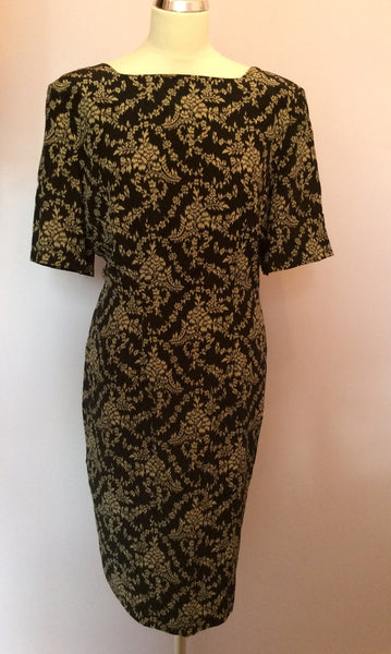 Vintage Jaeger Black & Beige Silk Shift Dress Size 18 - Whispers Dress Agency - Sold - 1
