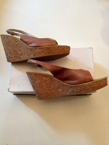 RUSSELL & BROMLEY TAN LEATHER WEDGE HEEL SANDALS SIZE 6/39 - Whispers Dress Agency - Womens Wedges - 2