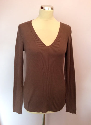 Passport Brown Silk V Neck Jumper Size L - Whispers Dress Agency - Womens Knitwear - 1