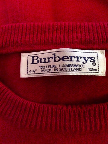 "BURBERRY RED LAMBSWOOL CREW NECK JUMPER SIZE 44"" UK L - Whispers Dress Agency - Mens Knitwear - 2"