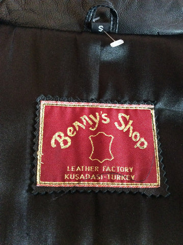 Brand New Bennys Shop Black Soft Leather Long Coat Size S